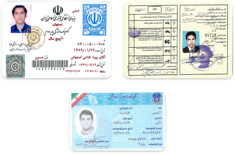 Driver's licenses in Persian