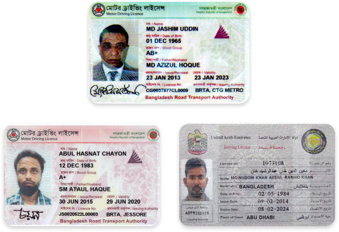 Driver's licenses in Bengali