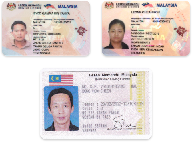 Driver's licenses in Malay