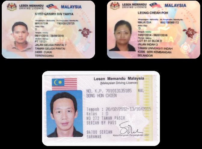Licencias de conducir en malayo