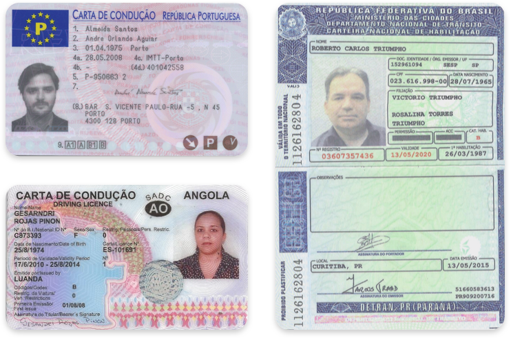 Driver's licenses in Portuguese
