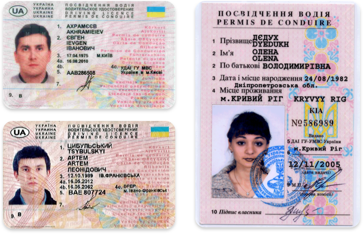 Driver's licenses in Ukrainian