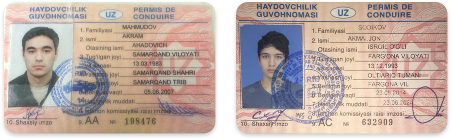 Driver's licenses in Uzbek